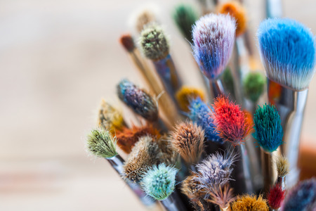 Photo for Bunch of artist paintbrushes closeup, selective focus. - Royalty Free Image