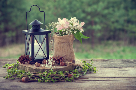 Foto de Wedding still life in rustic style. Retro stylized photo. - Imagen libre de derechos