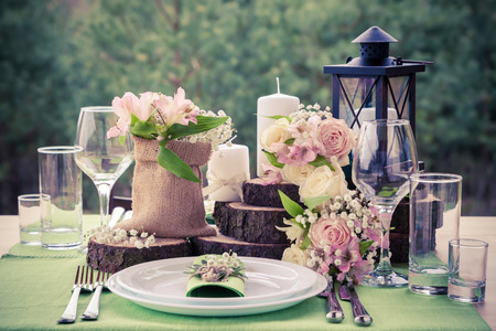 Photo for Wedding table setting in rustic style. - Royalty Free Image