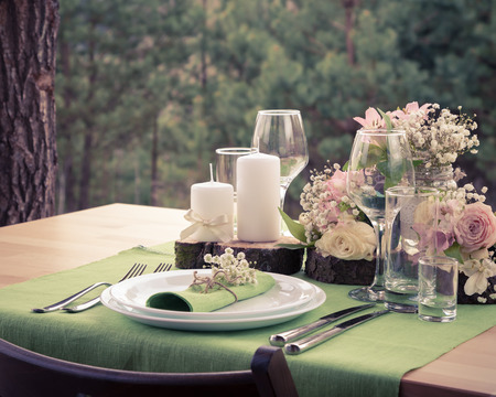 Photo for Wedding table setting in rustic style. Vintage stylized photo. - Royalty Free Image