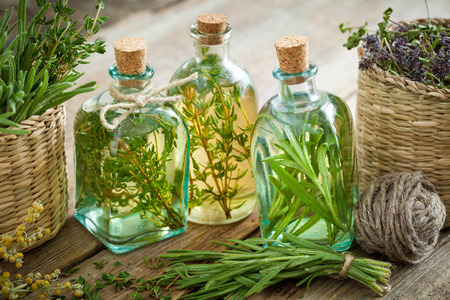 Photo pour Bottles of thyme and rosemary essential oil or infusion, herbal medicine. - image libre de droit