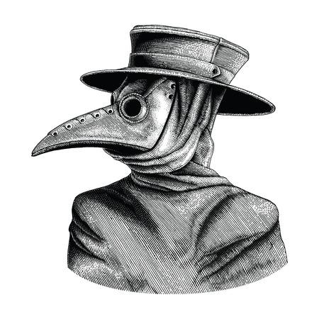 Ilustración de Plague doctor hand drawing vintage engraving isolate on white background - Imagen libre de derechos