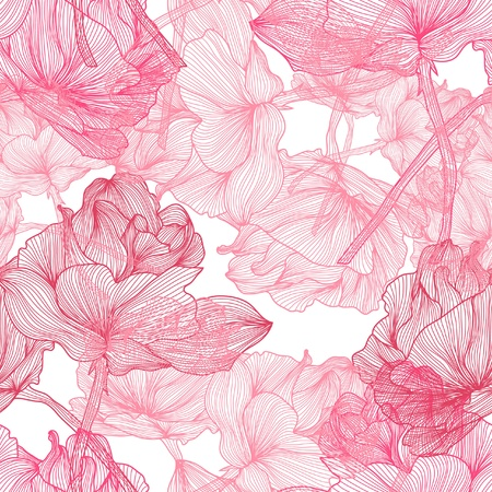 Illustration for elegant seamless pattern with beautiful pink roses for your design - Royalty Free Image