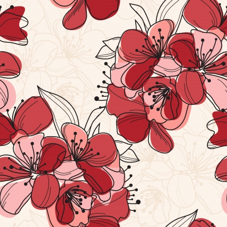 elegant seamless pattern with hand drawn cherry blossom for your design mural