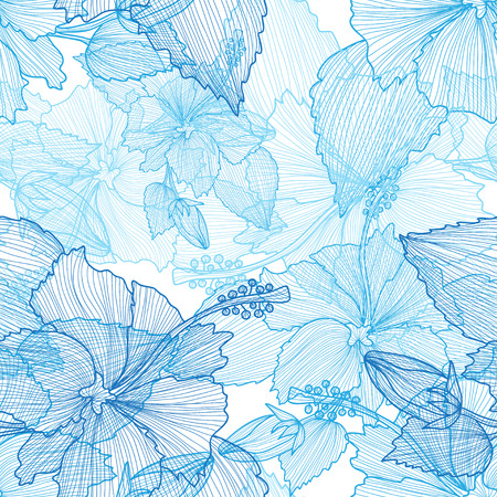 Ilustración de Elegant seamless pattern with hand drawn decorative hibiscus flowers, design elements. Floral pattern for wedding invitations, greeting cards, scrapbooking, print, gift wrap, manufacturing. - Imagen libre de derechos