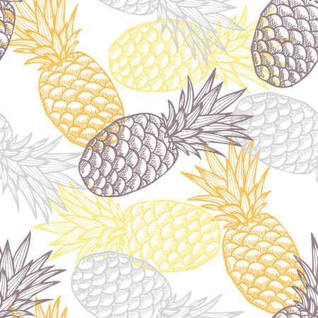 Photo pour Elegant seamless pattern with hand drawn decorative pineapples, design elements. Can be used for invitations, greeting cards, scrapbooking, print, gift wrap, manufacturing. Food background - image libre de droit