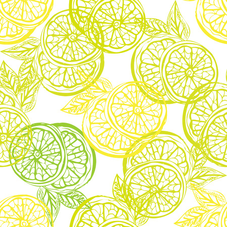 Ilustración de Elegant seamless pattern with hand drawn decorative lemon fruits, design elements. Can be used for invitations, greeting cards, scrapbooking, print, gift wrap, manufacturing. Food background - Imagen libre de derechos