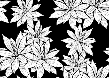 Illustration for Elegant seamless pattern with succulent plants, design elements. - Royalty Free Image