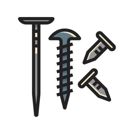 Illustration pour Three nails vector illustration in line color design - image libre de droit