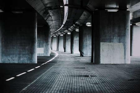 Foto de Urban background with big road bridge. Dark contrast colors. - Imagen libre de derechos
