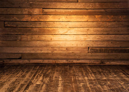 Foto de Wooden wall and floor background. - Imagen libre de derechos