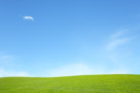 Foto de background of green field with blue sky - Imagen libre de derechos