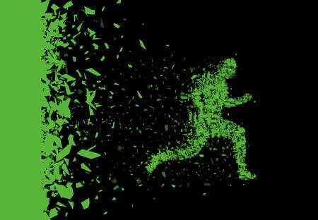 Ilustración de Vector sprinter. Breakthrough. Particles composed runner. Running man abstract silhouette. - Imagen libre de derechos