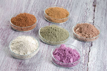 Photo pour cosmetic clay: yellow, purple, pink, red, white, green for Spa and bodycare - image libre de droit