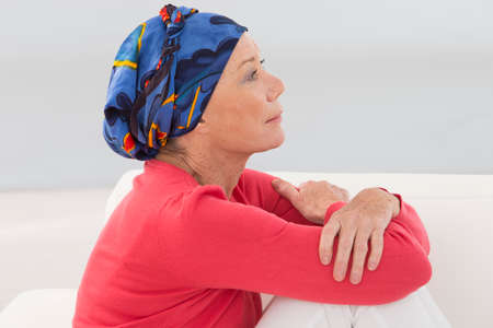 Photo pour portrait of a thoughtful senior woman - image libre de droit