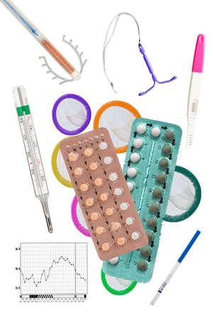 Foto de Birth Control symbol- IUD and contraceptive Pills and Condom - Imagen libre de derechos
