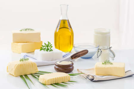 Foto de food Fats and oil : set of dairy product and oil and animal fats on a white background - Imagen libre de derechos