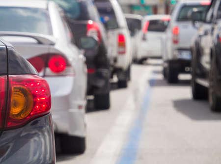Photo pour Car queue in the bad traffic road. Selective focus. - image libre de droit