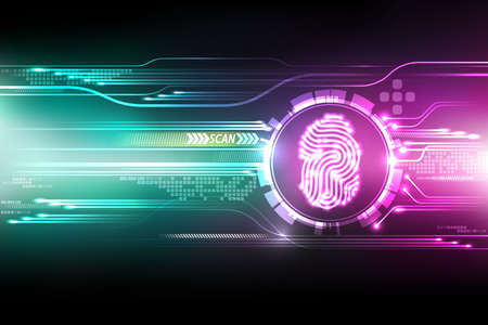 Ilustración de Abstract technology background.Security system concept with fingerprint Letter P sign.Vector illustration - Imagen libre de derechos
