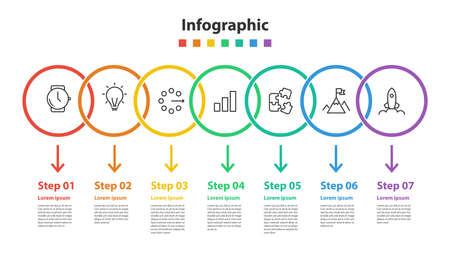 Ilustración de infographic element design 7 step, infochart planning - Imagen libre de derechos