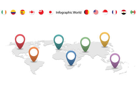 Illustration pour infographic country world map, international world flags, continents background - image libre de droit