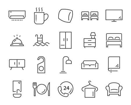 Ilustración de set of hotel icons, such as, bed, domitory, apartment, furniture, booking - Imagen libre de derechos