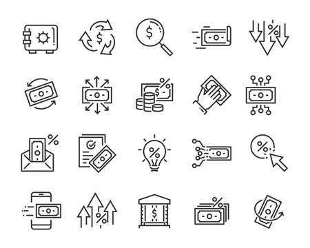 Illustration for set of money line icons, such as currency, finance, digital, percent - Royalty Free Image