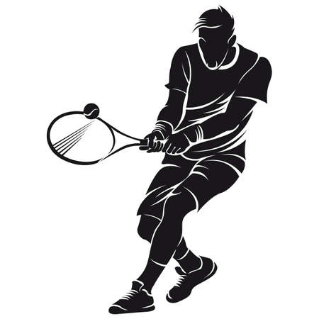 Tennis player, silhouette, isolated on white