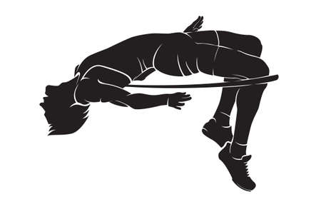 Illustration for High jumper. Vector silhouette on white - Royalty Free Image