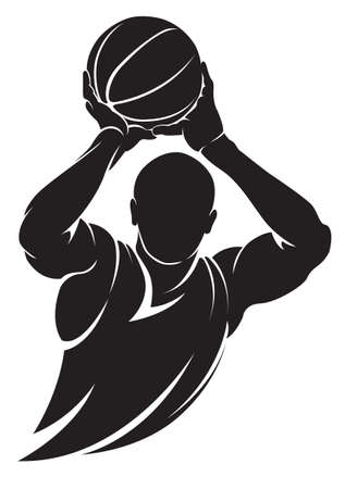 Illustration pour Basketball player. Vector silhouette, isolated on white - image libre de droit