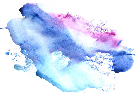 Photo pour Watercolor blue-violet stain on a white background. Abstract splash. - image libre de droit