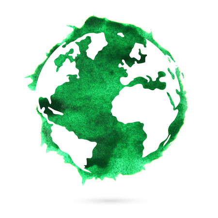 Photo pour Watercolor green planet earth on a white background. A beautiful abstract spot. - image libre de droit