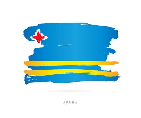 Ilustración de Flag of Aruba. Vector illustration on white background. Beautiful brush strokes. Abstract concept. Elements for design. - Imagen libre de derechos