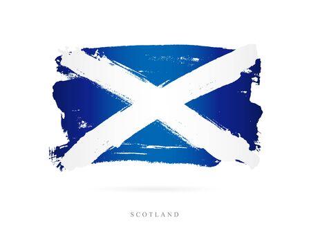 Ilustración de Flag of Scotland. Vector illustration on white background. Beautiful brush strokes. Abstract concept. Elements for design. - Imagen libre de derechos