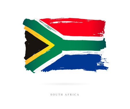 Illustration for Flag of South Africa Vector illustration on white background. - Royalty Free Image
