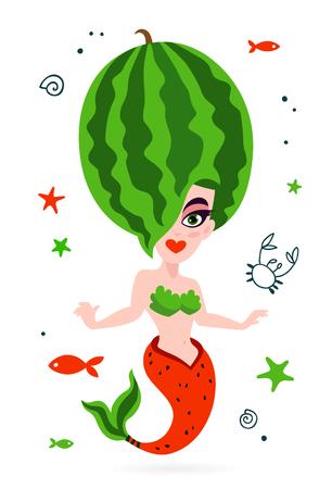 Illustrazione per Beautiful mermaid. Tasty watermelon. Vector illustration on white background. Summer print on a T-shirt. - Immagini Royalty Free