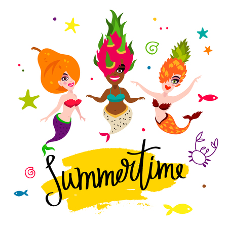 Ilustración de Summertime. Beautiful mermaids. Tasty pear, pineapple, dragonfruit. Vector illustration on a white background with a yellow ink stroke. Lettering and calligraphy. - Imagen libre de derechos
