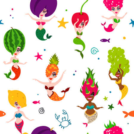 Illustrazione per Vector sea pattern of beautiful mermaids on a white background. Excellent print for fabric and designer paper. Delicious fruit and berries. Lemon, cherry, watermelon, plum, grapes, dragonfruit, raspberry, pineapple - Immagini Royalty Free