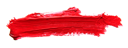 Photo for Red abstract gouache brush stroke on a white background - Royalty Free Image