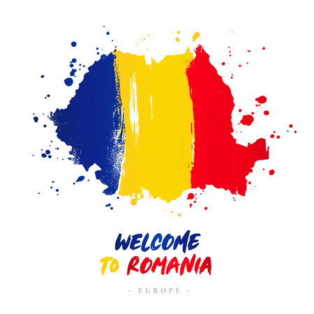 Ilustración de Welcome to Romania. Europe. Flag and map of the country of Romania from brush strokes. Lettering. Vector illustration on white background. - Imagen libre de derechos