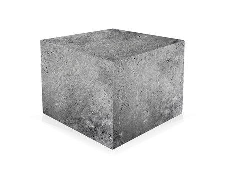 Photo for Concrete cube isolated on white background. The concept of building - Royalty Free Image