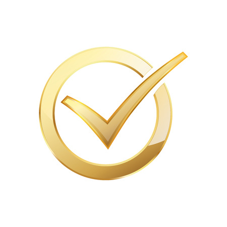 Illustration pour Golden check mark inside in the golden circle. Vector illustration. Golden ring with check mark - image libre de droit
