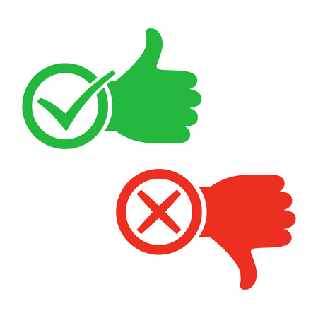 Illustrazione per Thumb up icon with check mark. Thumb down with cross mark. Vector illustration. I like and dislike signs in flat design. - Immagini Royalty Free