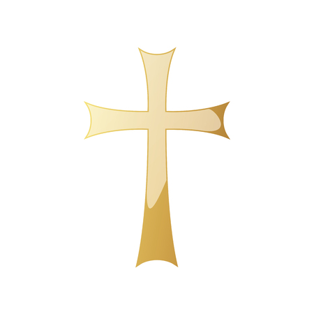 Illustration for Golden Christian cross icon. Vector illustration. Golden Christian cross isolated on white background. - Royalty Free Image
