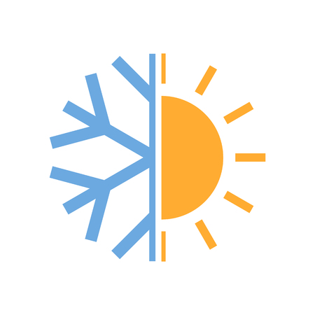 Ilustración de Sun and snowflake symbol of air conditioner. Vector illustration. Hot and cold icon. - Imagen libre de derechos