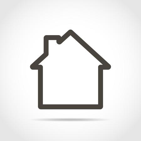 Ilustración de House icon in flat design. Vector illustration. Black house sign, isolated on light background. - Imagen libre de derechos