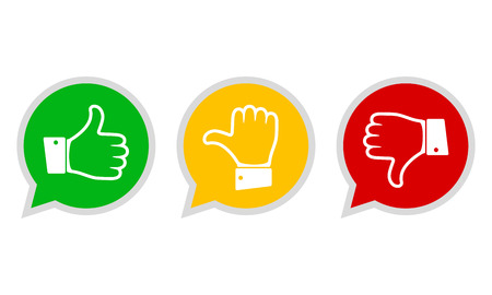 Illustrazione per Hand with the thumb in green, yellow and red colors. Concept of voting. Vector illustration. - Immagini Royalty Free