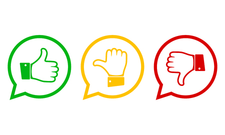 Illustration pour Hand with the thumb in green, yellow and red colors. Concept of voting. Vector illustration. - image libre de droit