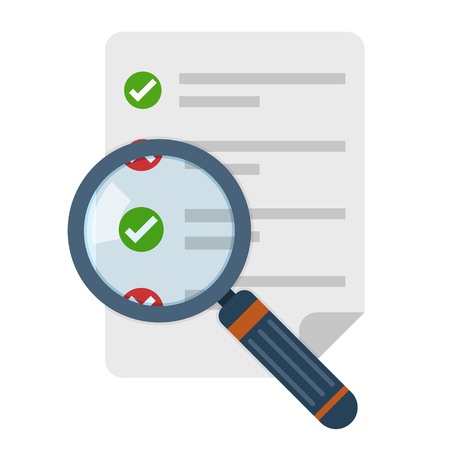 Illustration for Magnifier and checklist icon in flat design. Vector illustration. Analytics concept - Royalty Free Image