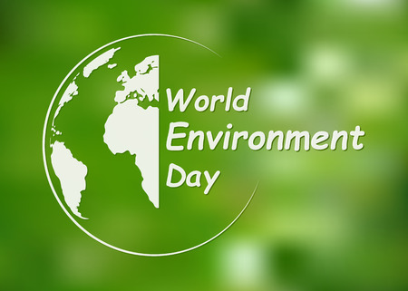 Illustration pour World Environment Day banner. Vector illustration. Globe with lettering on bright green background. - image libre de droit